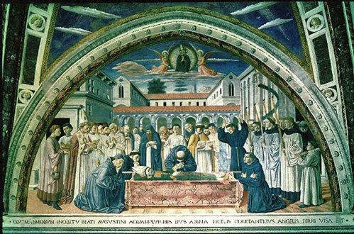 Death of Augustine: fresco by Gozzolli in San Gimignano Augustinian church