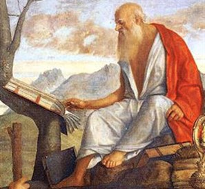 Saint Jerome, translating the Scripture