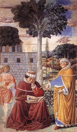 Alypius (standing) in the garden at Milan