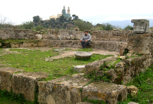 "The man is seated on the bishop's stone chair, point ""3"" in the previous photo"