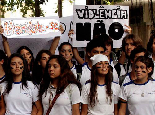 Augustinian students at San Paolo, Brazil protest violence against women