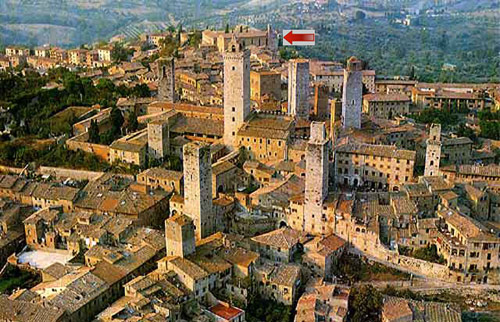 San Gimignano. The arrow marks the Augustinian church