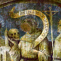 Faded fresco of William of Malavalle in a church at Brescia, Italy