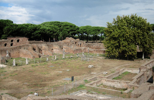 At Ostia Antica near Rome, a public meeting area - probably a forum