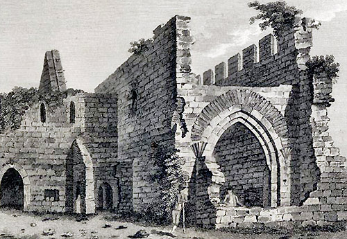 An older sketch of the ruins of the Augustinian monastery at Murrisk