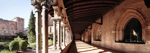 THe former Augustinian monastery in Toulouse from a cloister corner
