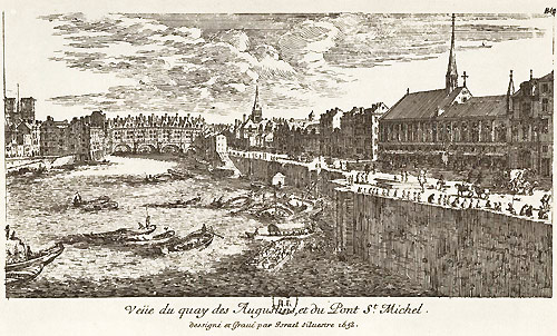 Engraving of Grands Augustins Quai (on right) in 1658 by Silvestre.