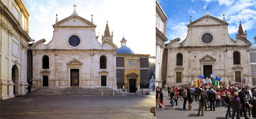 Church of Santa Maria del Popolo, with the Roman Wall to its left