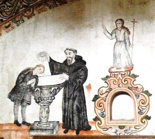 A fresco at San Miguel Priory, Xometla, Mexico; an Augustinian baptizing