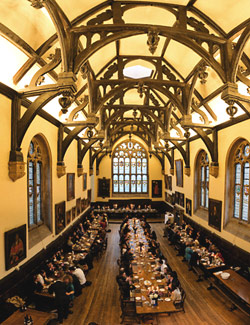 The dining hall of Wadham College