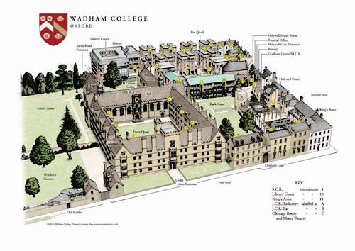 Layout map of Wadham College, University of Oxford