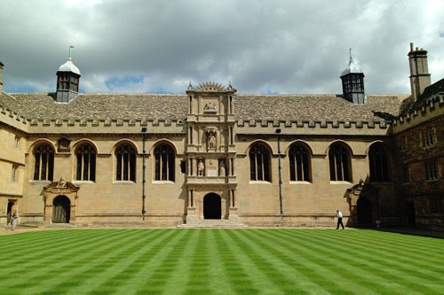 The courtyard at Wadham College, the former Augustinian site in Oxford