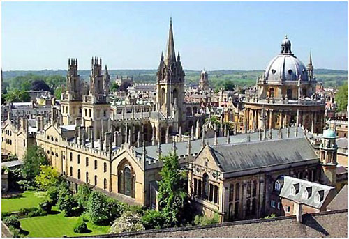 An aerial view of Wadham College, University of Oxford