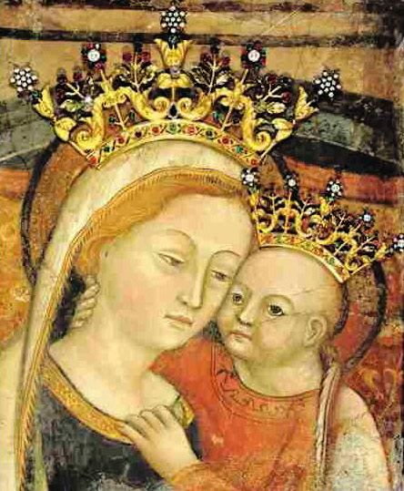 Mother of Good Counsel fresco, plus crowns of metal and jewels.