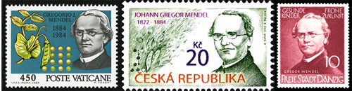 Many European nations featured Mendel on their postage stamps