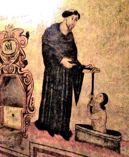 Former Augustinian monastery at Xomelta, Mexico: A friar saving a sinner