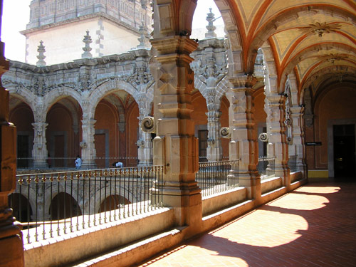 Queretaro's two-storied cloister corridors, with brilliant stone work