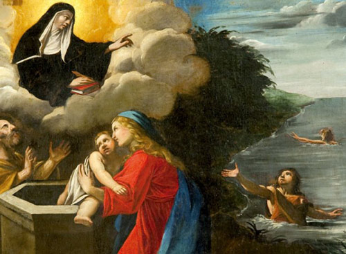 A painting at Cascia showing St Rita receiving prayers from people of all ages.