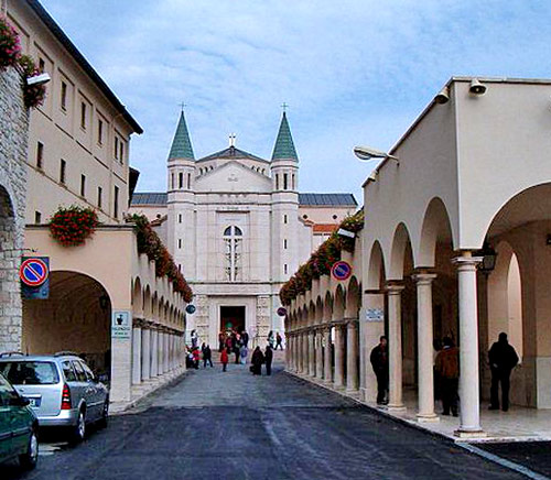The impressive colonnade leading to St Rita's Shrine and Church in Cascia