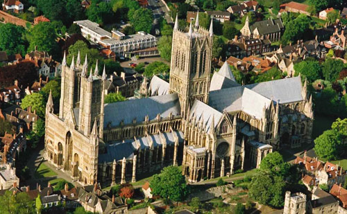 A recent aerial view of Winchester Cathedral