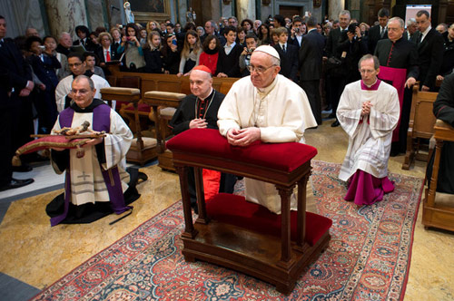 Newly-elected Pope at the Vatican parish church of St Anna, 17 March 2013