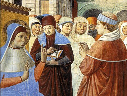 Ambrose (at left) speaks to Augustine: Gozzoli fresco, San Gmignano