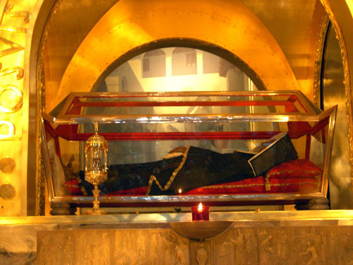 The remains of St Rita in a glassed casket in the Shrine at Cascia