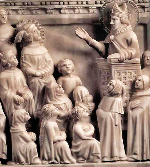 Ambrose preaches to Augustine. Carved in marble on Augustine's arca (tomb).