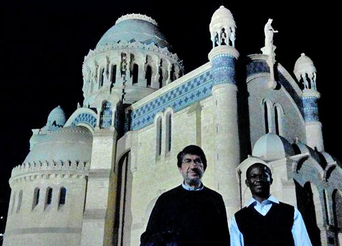 Augustinian Prior General (at left) at St Augustine's minor basilica, Annaba